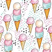 Pink Ice Cream SMALL // trendy, modern, watercolor, summer, sweet, girl, mint, cone, tamara arcilla, tamara_arcilla