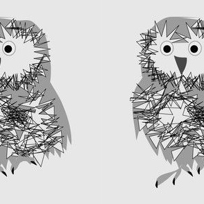 Owl at the Moon gray owl
