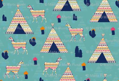 Llamas on blue