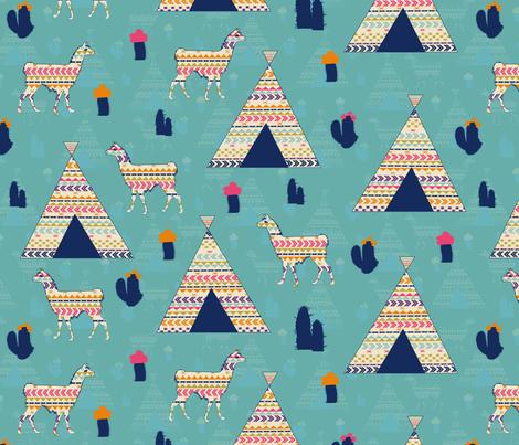 Llamas on blue fabric by kociara on Spoonflower - custom fabric
