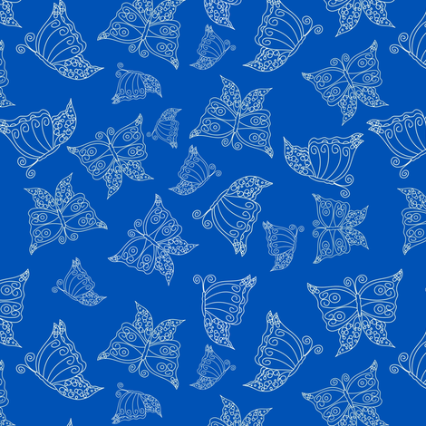 Lacy wing blue butterfly fabric by pamelachi on Spoonflower - custom fabric