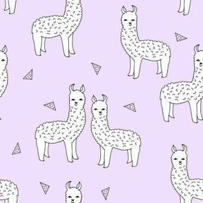 alpaca // purple lilac alpaca llama print cute purple nursery print baby girls fabric