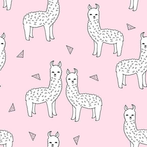 alpaca // soft pink baby pink nursery print fabric llama print for girls cute llama alpaca fabric print