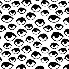 eyes // black and white small version eye fabric halloween eyes creepy