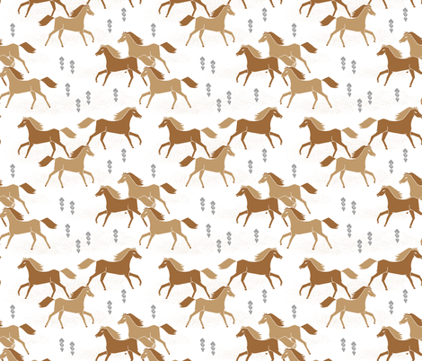 horses // brown running horse cowboy cowgirl southwest fabric by andrea_lauren on Spoonflower - custom fabric