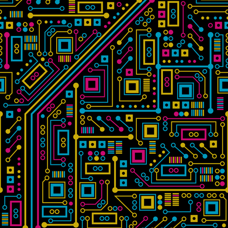 Short Circuits (Tri-Color) fabric by robyriker on Spoonflower - custom fabric