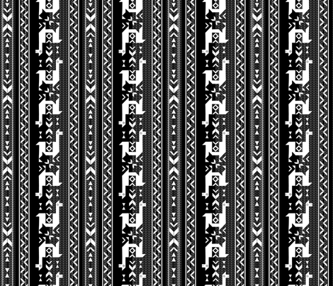 Llamas_Black & White fabric by mia_valdez on Spoonflower - custom fabric