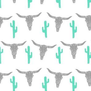 longhorn skull // southwest cactus mint nursery baby kids cowboy southwest