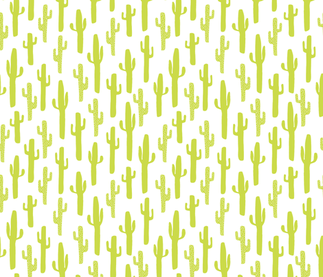 cactus // lime green cactus southwest kids summer tropical fabric by andrea_lauren on Spoonflower - custom fabric