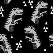 Dinosaurs - Black/Grey/Light Grey by Andrea Lauren