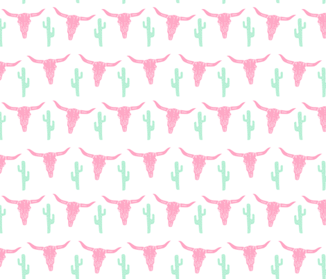 longhorn skull // pink and green nursery baby girl sweet nursery texas skull longhorn  fabric by andrea_lauren on Spoonflower - custom fabric