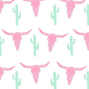 longhorn skull // pink and green nursery baby girl sweet nursery texas skull longhorn