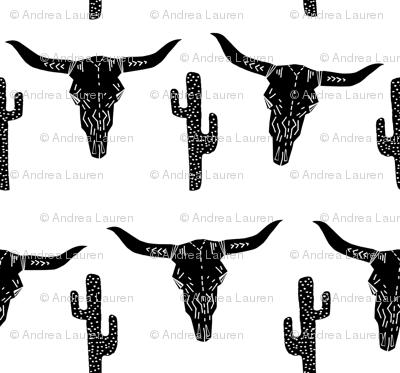 longhorn skull // black and white southwest cactus kids nursery trendy skulls