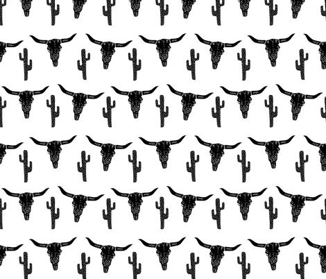 longhorn skull // black and white southwest cactus kids nursery trendy skulls fabric by andrea_lauren on Spoonflower - custom fabric