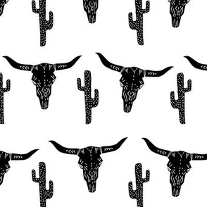 longhorn skull // black and white southwest cactus kids nursery trendy skulls