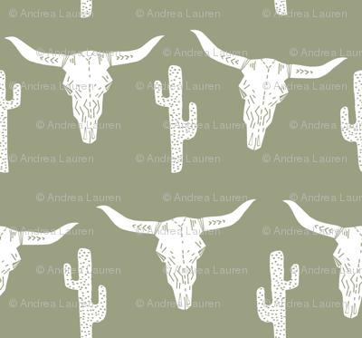 longhorn skull // artichoke green southwest cactus baby boy kids green texas