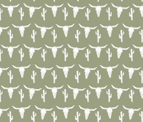 longhorn skull // artichoke green southwest cactus baby boy kids green texas fabric by andrea_lauren on Spoonflower - custom fabric