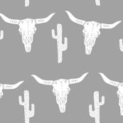 longhorn skull grey // kids nursery baby cactus southwest skull