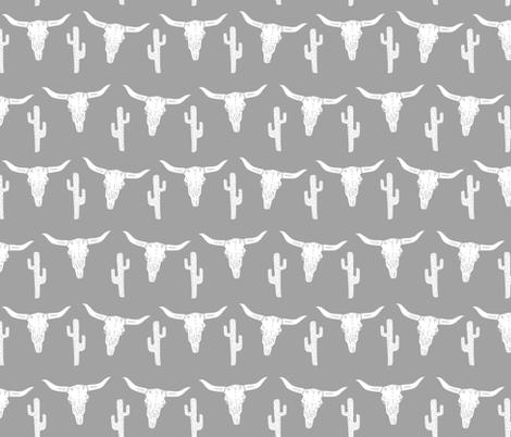 longhorn skull grey // kids nursery baby cactus southwest skull  fabric by andrea_lauren on Spoonflower - custom fabric