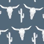 longhorn skull // skull southwest cactus blue kids boys nursery baby
