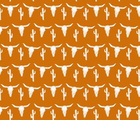 texas // longhorn cactus skull southwest rust orange  fabric by andrea_lauren on Spoonflower - custom fabric