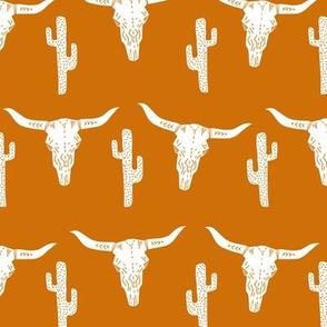 texas // longhorn cactus skull southwest rust orange