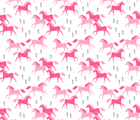 horses fabric // pink running horses kids cowgirl sweet pink pastel horse fabric by andrea_lauren on Spoonflower - custom fabric