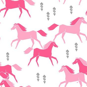 horses // pink running horses kids cowgirl sweet pink pastel horse