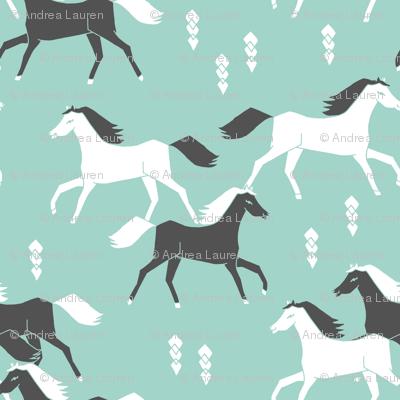 horses // mint and grey kids western cowboy texas ranch
