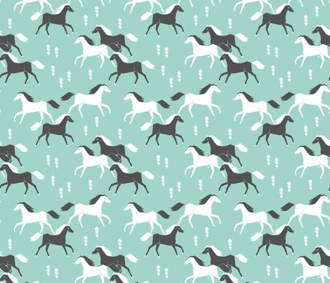 Horses mint and grey kids western cowboy texas ranch for Grey childrens fabric
