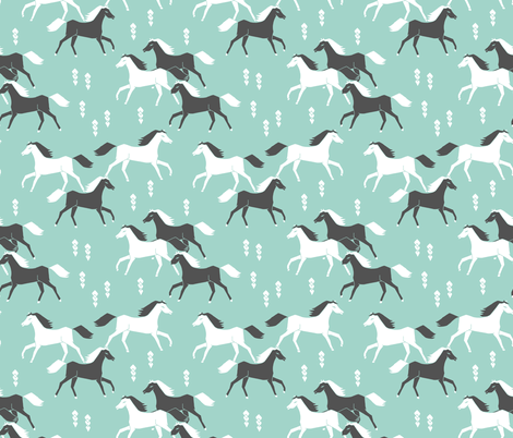 horses // mint and grey kids western cowboy texas ranch fabric by andrea_lauren on Spoonflower - custom fabric