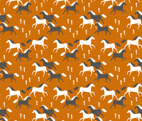 horses // cowboy rust horse ranch western  fabric by andrea_lauren on Spoonflower - custom fabric