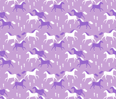 horses // purple lilac girls sweet cowgirl  fabric by andrea_lauren on Spoonflower - custom fabric