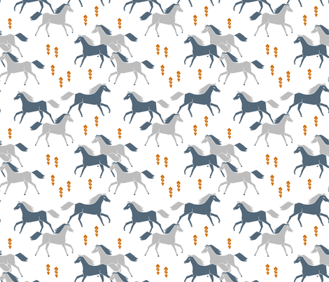 horses // running horses grey and blue boys cowboy  fabric by andrea_lauren on Spoonflower - custom fabric