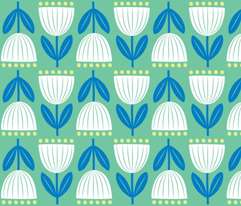 tulips on green field fabric by shindigdesignstudio on Spoonflower - custom fabric