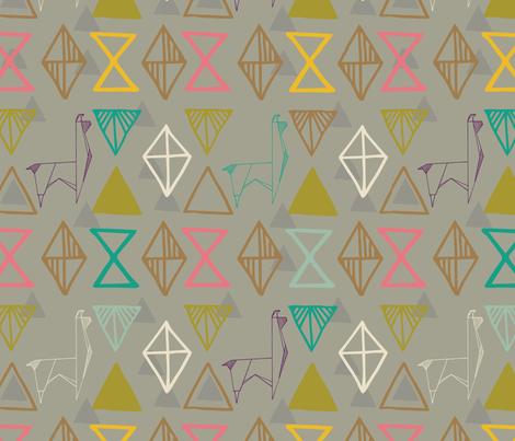 Llami Origami- Llama, Alpaca Geometric Abstract Mountains fabric by pigpigmentation on Spoonflower - custom fabric
