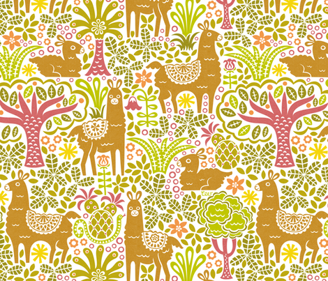 Camouflage Llama Family fabric by studio_amelie on Spoonflower - custom fabric
