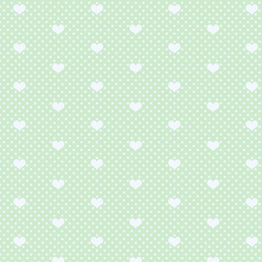 PolkaDot and Heart in Pale Green