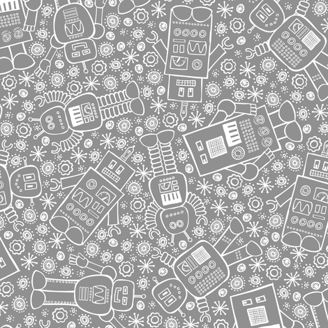 Robots All About (Gray) fabric by robyriker on Spoonflower - custom fabric