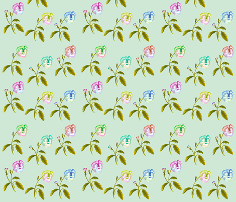 Pansy Spring Meadow Pale Duckegg fabric by thistleandfox on Spoonflower - custom fabric