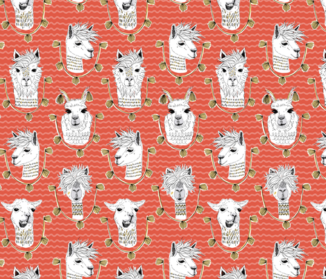 Llamas of Lima - Red fabric by c_manning on Spoonflower - custom fabric