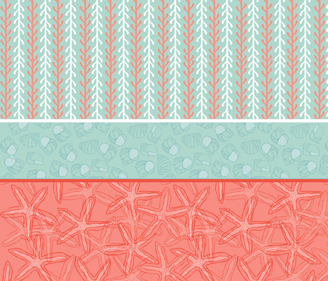 Kelp Stripe with Starfish & Periwinkle in Blue, Coral/Red & White fabric by lauriekentdesigns on Spoonflower - custom fabric