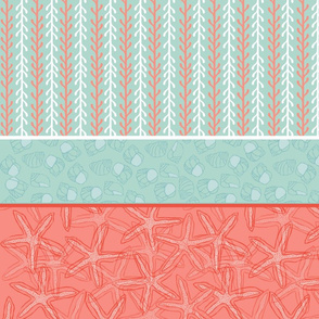 Kelp Stripe with Starfish & Periwinkle in Blue, Coral/Red & White