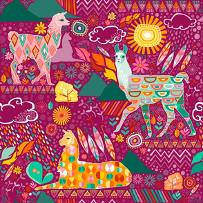 Llamas on Purple (Large)