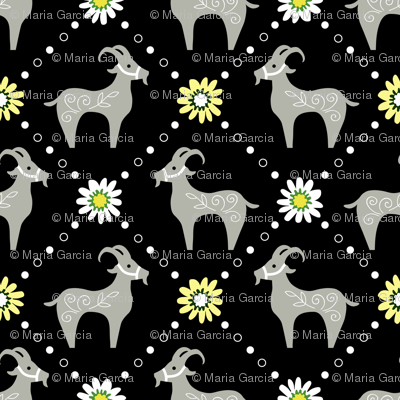 Goats and Daisies -Blk Bkgd