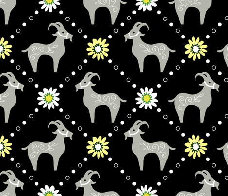 Goats and Daisies -Blk Bkgd fabric by mariafaithgarcia on Spoonflower - custom fabric