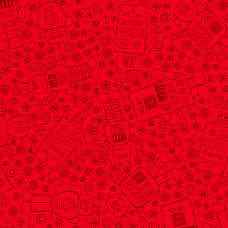 Robots All About (Red) fabric by robyriker on Spoonflower - custom fabric