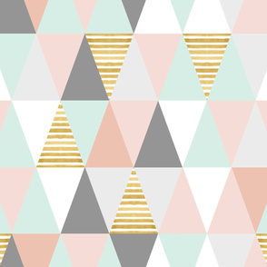 Triangles - Pink, Mint, Gold Stripes