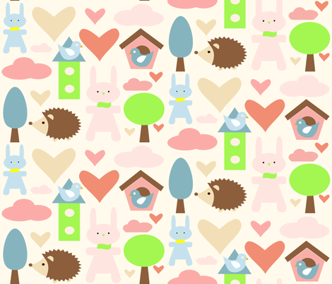 Bunny's and hedgehog FunLand  fabric by bruxamagica on Spoonflower - custom fabric