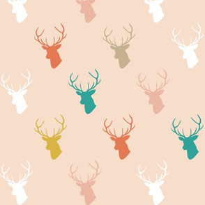 Coral Teal Deer on Blush